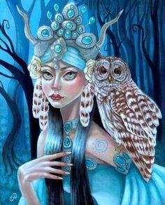 Queen of the Dark Wood faerie owl fantasy art fine art print by Tammy Wampler Valkyrie Norse, Norse Pagan, Owl Art, Sacred Art, Art Auction, Dark Wood, Faeries, Fine Art Paper, The Darkest