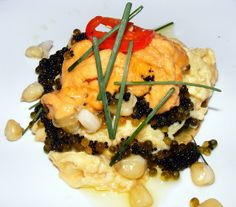 Soft scrambled eggs with caviar, sea urchin, corn kernels, jalapeno pickles and chicharron at Mission Cantina, NY. (Photo by: The Food Doc)