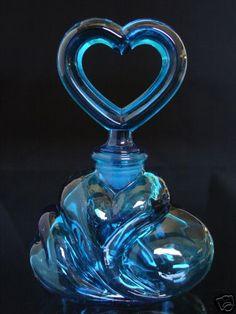 Fenton Turquois Blue Glass Perfume Bottle - Mint