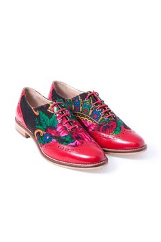 Mens Oxfords Brogue Flat Dress Shoes Platform Lace Up Printed Floral Casual Shoe