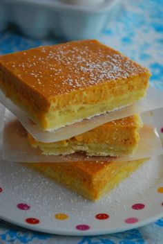 Pumpkin Cheesecake Bars     For Crust:    1 box pound cake mix  1 egg  2 Tbsp butter, melted  2 tsp pumpkin pie spice    For Cheesecake Layer:    1 (8 oz) pkg cream cheese, softened slightly  1 (7 oz) can sweetened condensed milk  1 (15 oz) can pumpkin puree (NOT pumpkin pie mix)  2 eggs  1 Tbsp pumpkin pie spice  Powdered sugar, for dusting (optio