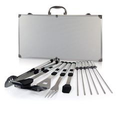 http://www.allthingsoutdoors.co/collections/bbq-tools/products/mirage-pro-storage-case.  Each BBQ tool was cleverly designed with an extra long aluminum handle to keep your hands away from the heat and includes a loop at the end for hanging on the hooks of your barbecue. The Mirage Pro is ideal for outdoor barbecues, picnics, and camping and makes a great gift for those who enjoy barbecuing.
