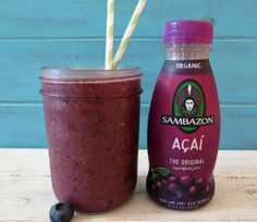 Blueberry Banana Acai Smoothie: A rich, healthy vegan, gluten free smoothie made with Sambazon Acai Juice, banana and blueberries by Peanut Butter and Peppers