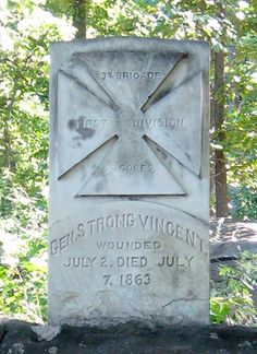 Monument to General Strong Vincent at Gettysburg - one of the first monuments placed at the Battlefield.  Commemorates Vincent as he urged his regiments on during the Battle of Little Round Top.  He was actually wounded as he stood on a boulder nearby (which is also marked.)