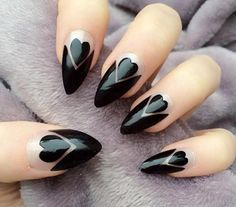 Hearts black ...Follow Nails: https://www.pinterest.com/lyndanna/nails/ #nail #nails #nailart ..  ..........Follow Viral Pinterest: https://www.pinterest.com/lyndanna/pinterest/