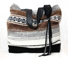 Boho Beach Tote Bag - XL - Upcycled Mexican Blanket and Leathers. $150.00, via Etsy.