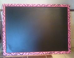 Hot Pink Zebra Print Chalk Board by mycountrybowtique on Etsy, $15.00