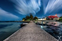 The Red Church by CLouds Cap Malheureux Church Landscape Long Exposure Mauritius Night Red Seascape The Red Church Dan Road Pictures, Mauritius Island, Facebook Photos, Long Exposure, Art Photography, Country Roads, Clouds, Mansions, House Styles