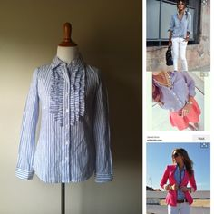 Jessica Simpson Striped Blouse Blue and white striped cotton blouse with pleats and ruffles by Bitten from Sarah Jessica Parker. Like new. Made in India. I love reasonable offers and bundling!! Bitten by Sarah Jessica Parker Tops Button Down Shirts