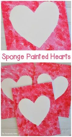 Create a Valentine's art project using sponges to paint a heart. day decorations for classroom for kids Sponge Painted Hearts Valentine's Day Art Project day decorations for classroom toddlers<br> Preschool Valentine Crafts, Kinder Valentines, Valentine Theme, Valentines Day Activities, Valentines Art For Kids, Valentine Hearts, Printable Valentine, Homemade Valentines, Valentine Box