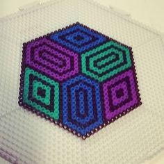Geometric design perler beads by tidepool_productions Perler Bead Templates, Diy Perler Beads, Perler Bead Art, Pearler Beads, Fuse Beads, Melty Bead Patterns, Hama Beads Patterns, Beading Patterns, Pixel Beads