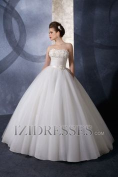 Ball Gown Strapless Sweetheart Satin Tulle Beach Wedding Dresses