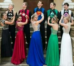 Squad goals: group of teens color-coordinated their superhero prom outfits Cute Relationship Goals, Cute Relationships, Cute Prom Proposals, Promposal, Engagement Inspiration, Prom Pictures, Cute Couples Goals, Couple Goals, Best Friend Goals