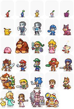 Awesome pixel sprites | pixel art, character models, Mario, Pikachu, Nintendo, Sonic, Megaman