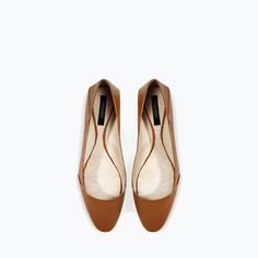 LEATHER BALLET FLAT from Zara
