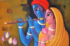 """Krishna With She"" by Sekhar Roy Acrylic On Canvas."