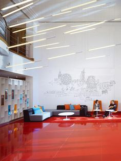 Nice places value Virgin Atlantic's Swank New Lobby Conveys Brand Values, Without The Brand Virgin Atlantic, Lobby Interior, Office Interior Design, Corporate Interiors, Office Interiors, Cool Office Space, Office Spaces, Work Spaces, Red Floor