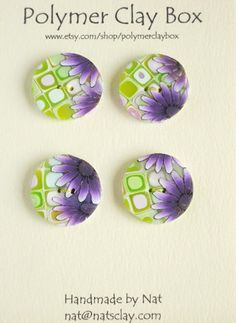 Millifiori retro polymer clay buttons by polymerclaybox on Etsy