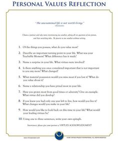 Personal Values Reflection - thought-provoking questions Counseling Activities, Therapy Activities, School Counseling, Therapy Worksheets, Info Board, Self Development, Personal Development, Leadership Development, Reflection Questions