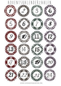glue empty toilet paper rolls to the back of each circle and cut the circles out. fill each roll with chocolate or candy or whatever! make them into any cool shape like a ch (Cool Fonts Numbers) Christmas Crafts For Adults, Christmas Activities, Christmas Printables, Advent Calenders, Diy Advent Calendar, Printable Numbers, Printable Crafts, Free Printable, Christmas Calendar