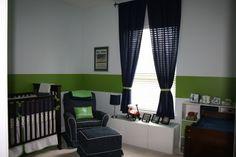 CUTE baby boy nursery - navy  green! by june
