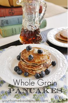 Whole Grain Pancakes - a healthy way to start the day on school days  @yourhomebasedmom.com  #breakfast, #recipes