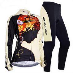 Nuckily Women Cycling Set Long Jersey with 3D Cushion Padded Bike Pants Bicycle Clothing Women's Cycling Long Sleeve