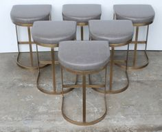 Milo Baughman Burnished Brass Bar Stools in Grey Leather 2