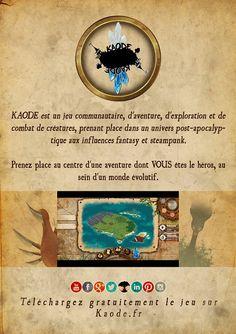 Affiche de com =D  #Kaode #fancytreestudio #indigame #rpg #videogame #french #jeuxvideo #livrejeu #livrejeux #gamebook #steampunk #postapo #postapocalyptic #fantasy #communication #adventure #collection #creature #exploration #mystery