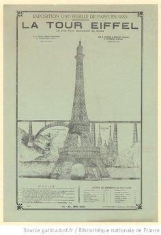 Affiche de l'exposition universelle de 1889 présentant la tour Eiffel comme le plus grand monument du globe.