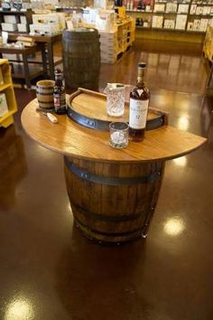 Traveling tasting bar, if it's not too heavy! KegWorks Barrel Bar - Handcrafted Home Bar Decor - perfect for in front of the keezer or in the mancave -- space saving with charm Barrel Bar, Barrel Table, Keg Table, Man Cave Bar, Wine Barrel Furniture, Home Bar Decor, Pub Decor, Wine Decor, Rack Design