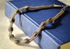 Viking stricken Sterling Silber Kette mit Lava-Steinen