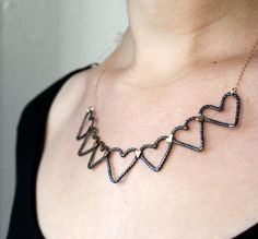 Silver heart bunting necklace, $98.00