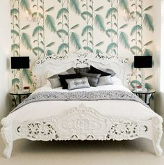 Palm Wallpaper eclectic bedroom by Design-OD
