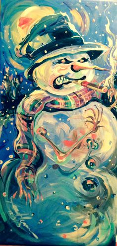 Angry snowman.      Done in December 2013 acrylic on canvas by Jane Heisserer