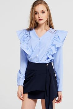 Janice Ruffle Blouse Discover the latest fashion trends online at storets.com #fashion #ruffle #blouse #storetsonme