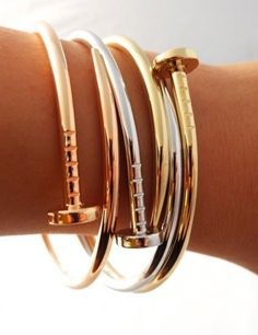 Nail Bracelet | http://styleaddict.com.au/accessories/jewelry/rose-gold-nail-bracelet.html