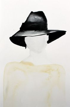 Armani Hat Fashion Illustration print from original watercolour by Helen Simms