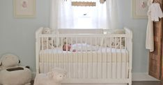 Emma's Nursery My vision for our daughter's nursery was a soft, cuddly and cozy room filled with an eclectic mix of items - old and new, . Light Blue Nursery, White Nursery, Nursery Neutral, Neutral Nurseries, Cream Nursery, Sheep Nursery, Girl Nursery, Sheep Mobile, Bebe Love