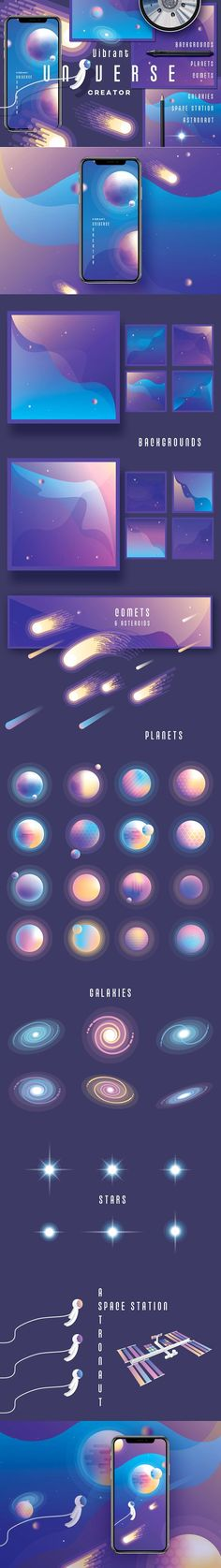 Vibrant Universe Creator by Polar Vectors on @creativemarket
