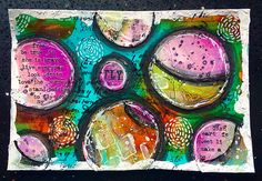ICAD day 8 - painted collage circles on acrylic background #art #acrylic #artcards #color #colour #collage #cardart #doodle #circles #circleart #icad #icad2016 #indexcards #journal #layers #mixedmedia #mixedmediaart #paint #pen #stabilo