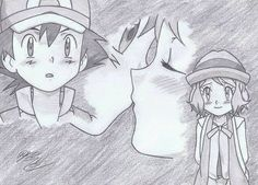 from the last XY-Z Episode ©Satoshi Tajiri/Nintendo Satoshi x Serena - Arigato Kalos Pokemon, Ash Pokemon, Pokemon Ships, Pokemon Comics, Pokemon Fan, Ash Drawing, Satoshi Tajiri, Pokemon Sketch, Pokemon Ash And Serena
