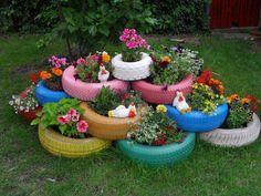 tires in the garden....