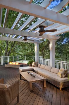 Add ceiling fans to your deck's pergola and you'll have not only shade, but a cool breeze too! Outdoor Rooms, Outdoor Living, Outdoor Decor, Pergola Patio, Backyard Patio, Pergola Ideas, White Pergola, Wood Pergola, Wood Patio