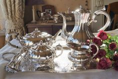 A splendid vintage Viners silver plated set of matching teapot, coffee pot/hot water jug, cream jug and sugar bowl, in the 'melon' style. by Alexsprettyvintage on Etsy
