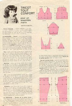 PAR AMOUR DES POUPEES :: M&T 1972-08  Ensemble pantalon style marin pour Marie-Françoise  (tricot)
