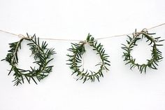 DIY Mini Wreath Garland - I can use the hordes of rosemary out front!