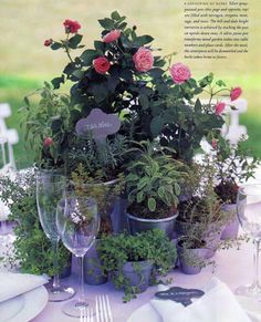 mismatched potted greenery (herbs, ivy, moss, etc.) with rustic/romantic accents blooms (Queen Anne's lace, baby's breath, petite roses, lavander, etc.) in assorted apothecary/mason jars, vases, tins, etc. #wedding #centerpiece