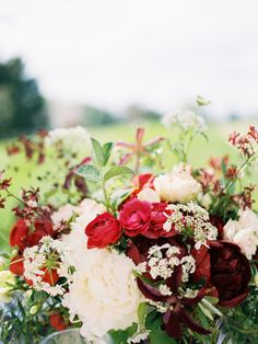 Red and Ivory Wedding Flowers | photography by http://www.defiorephotography.com/