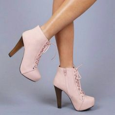 Qupid Puffin Lace up bootie High heel booties 4in. Light pink/nude... Worn once for a few hours ..excellent condition Qupid Shoes Heeled Boots
